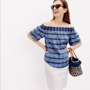 JCrew plaid silk off the shoulder top